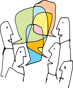 Sketch of people talk to each other